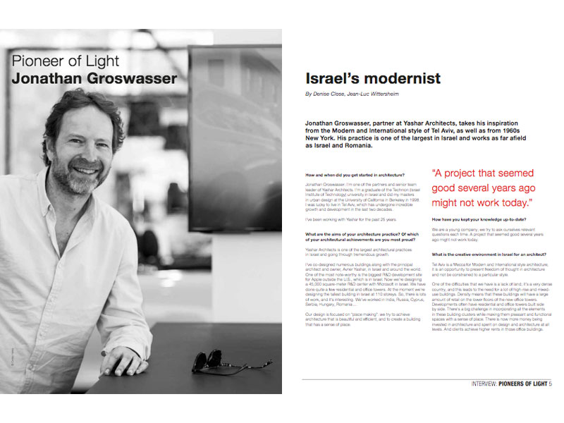 Philips Lighting «Luminous» magazine interview with internationally-reknowned architect Jonathan Groswasser, who drove the BMW Mini showroom lighting design project