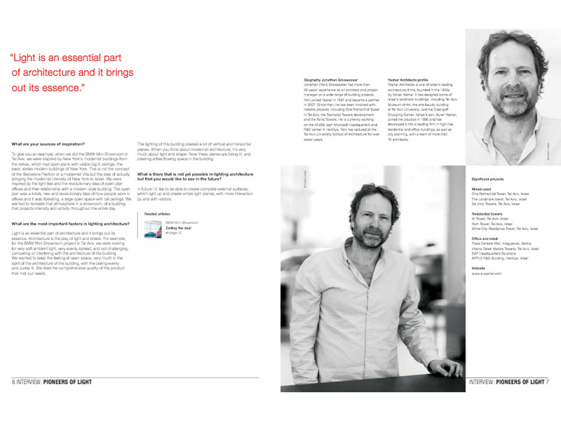 Interview avec l'architect du showroom BMW Mini pour «Luminous» magazine de Philips Lighting