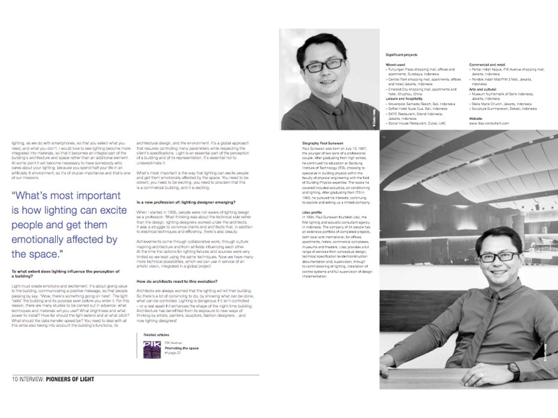 Philips Lighting's «Luminous» magazine: Lighting designer Paul Gunawan, Jakarta