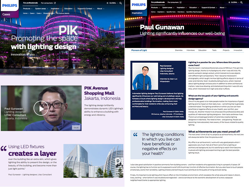 Lighting designer Paul Gunawan, PIK Avenue shopping mall, Jakarta, feature coordination and translation for Philips Lighting