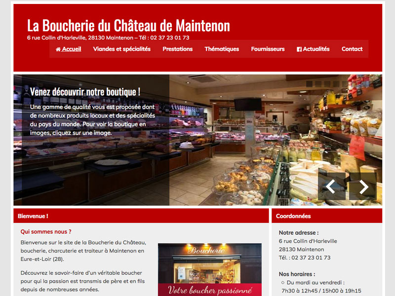 Website creation for the Maintenon butcher shop and delicatessen