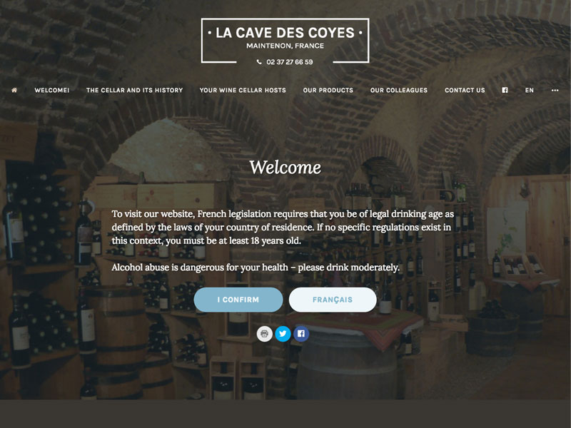 Creation and up-dates for La Cave des Coyes wine shop as well as their e-commerce site lacavedemaintenon.fr