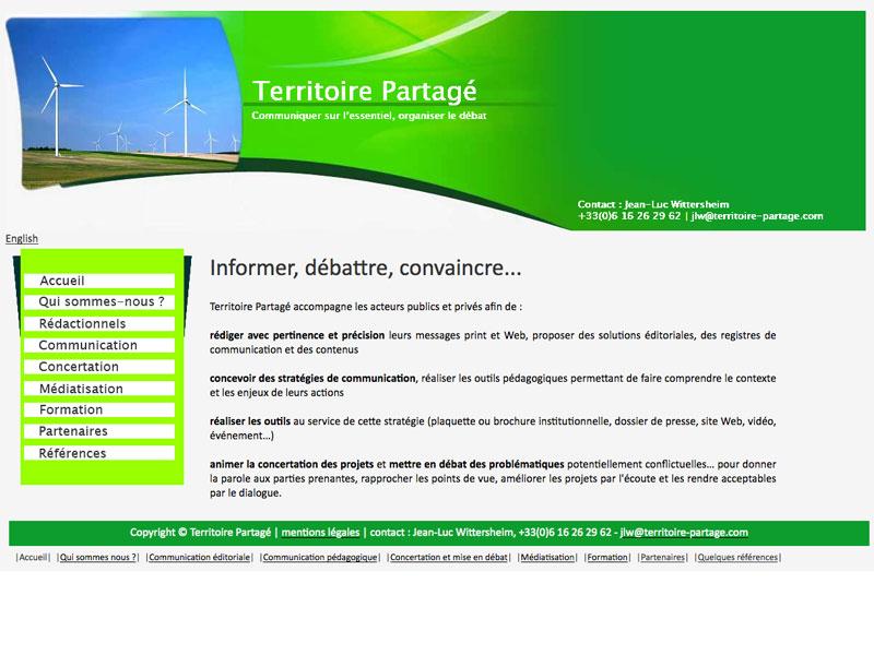 Territoire Partagé - Création et traduction du site internet d'un réseau des spécialistes en communication et conduite du changement.